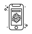 smartphone with covid19 virus particle line style vector image vector image