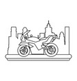 sport racing motorcycle in the city vector image vector image