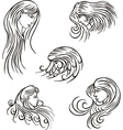 Stylized woman heads vector image vector image