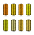 Thread Spool Set Bright Plastic Bobbin Isolated vector image vector image