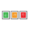 thumbs up and down picture frames vector image vector image