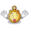tongue out chronometer character cartoon style vector image vector image
