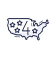 us map icon with number july 4 is drawn vector image vector image