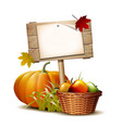 wooden banner with orange pumpkin autumnal leaves vector image vector image