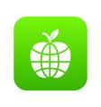 world apple icon green vector image