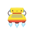 yellow flying friendly android robot character