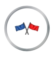 Red and blue flags icon in cartoon style isolated vector image