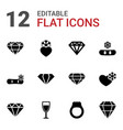 12 crystal icons vector image vector image