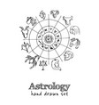 astrology isolated hand drawn doodles set vector image