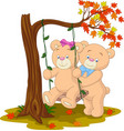 bear couple in love sitting on a swing under a tre vector image