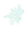 bouquet made of continuous lines flowers vector image vector image