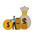 businessman with coin money bag vector image vector image