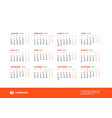calendar for 2020 year week starts on monday vector image vector image