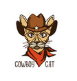 cat cowboy with western cowboy hat and red vector image
