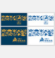 chinese new year year ox greeting card set vector image vector image