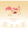 Christmas card with a running horse dreamy vector image vector image