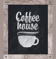 coffee cup drawing chalk on board in wooden frame vector image vector image
