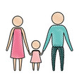 color crayon silhouette pictogram parents with a vector image vector image