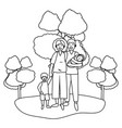 couple with children black and white vector image vector image