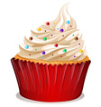 Cupcake with cream and sprinkles vector image vector image