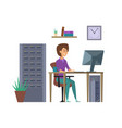 female programmer it developer character vector image vector image