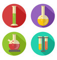 flat chemical flask and glass icon vector image