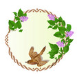 floral round frame with purple lilac and bird vector image vector image