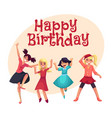 four girls in colorful clothes having fun dancing vector image vector image
