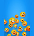 fun 3d smiley face icons blue copyspace background vector image