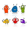 Funny aliens sketch drawing for your design vector image