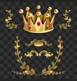 Golden heraldic elements kings crown