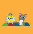 gray kitten and funny alarm clock vector image