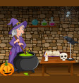 halloween background with witch stirring poison vector image