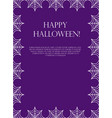halloween square frame for text with spider web vector image vector image