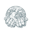 hands hold planet or world ecology or business vector image vector image