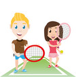 happy couple athlete playing tennis vector image vector image