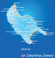 Island of Zakynthos in Greece map