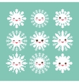 Kawaii snowflake set white funny face with eyes vector image vector image