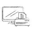 laptop computer with printer vector image vector image