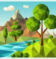 low poly landscape nature green trees plants vector image vector image