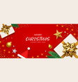 merry christmas white gift box gold bow ribbon vector image