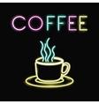 Neon coffee mug design vector image vector image