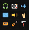 nine universal flat music icons vector image vector image