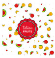 pattern of fresh healthy fruits vector image vector image