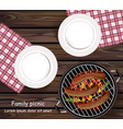 picnic bbq realistic top view plates vector image