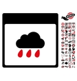 Rain Cloud Calendar Page Flat Icon With vector image vector image