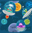 seamless background with cartoon aliens in space vector image
