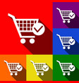 shopping cart with check mark sign set of vector image vector image