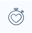 Stopwatch with heart sign sketch icon vector image vector image