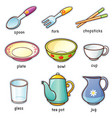 tableware vocabulary vector image vector image
